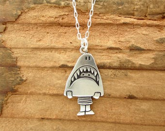 Sterling Shark Girl Necklace - Cute Silver Shark Costume Pendant