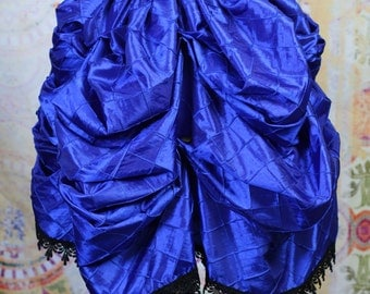 Blue Pintuck Mini Bustle with Black Lace