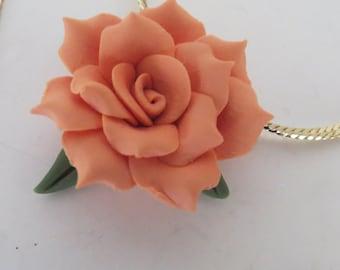 Orange Flower Necklace Handmade Cold Porcelain