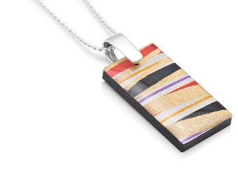 Linear Stripe Chiyogami Resin Tab Pendant Ball Chain Laser Cut Acrylic Necklace Gift for Her