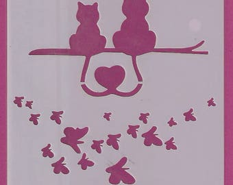 Stencil Stencils Pattern, Cake DIY Decorating, Wall stencil, Template, Reusable, Flexible, for clay, glass, cards | CAT | 5.1 inch/13 cm