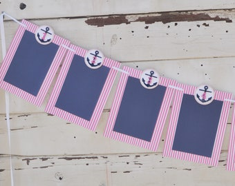 Girl Nautical 12 Month Photo Banner- 1st Birthday