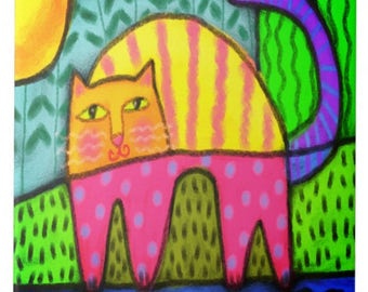 Colorful Abstract Cat Painting Printed on Ceramic Tile