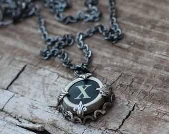 Custom Initial Necklace, Vintage Typewriter Key, Letter X, Teen Gift Idea