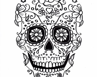 five different sugar skull coloring pages printable digital download no 482 - Sugar Skull Coloring Pages Print