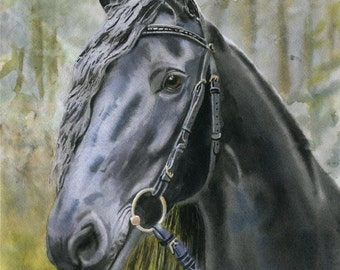 Friesian Horse art Morgan Warmblood Print of a watercolor Painting Big Large Huge Girls Teens Horse Lover Unique Gift