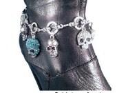 Blue Teal Crystal Skull Charms on Skull Chain Boot Jewelry Boot Bracelet Boot Bling Biker Motorcycle Skulls Skull Gift