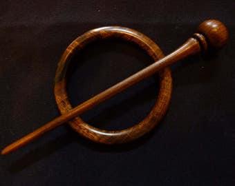 Shawl pin in Laburnum wood #6