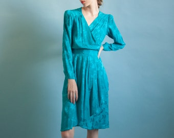 aqua blue print silk wrap dress / puff sleeve tea dress / wrap silk dress / s / 2035d / B7