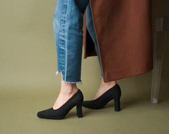 VIA SPIGA black fabric stacked heel pumps / classic pumps / unique heel pumps / 6 / 791s / B3