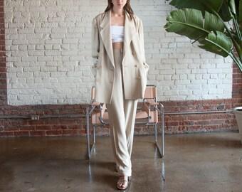 ELLEN TRACY oversized beige double breasted suit / slouchy suit / long blazer / m / l / US 14 / 2197o