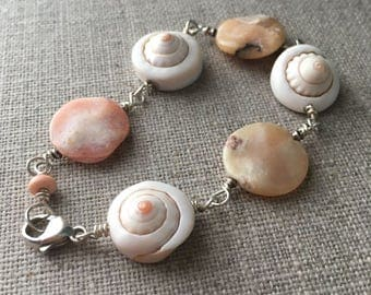 Pink Opal and Shell Bead Bracelet. Sterling Silver Bracelet. Pink Peruvian Opal Coin Bead Bracelet. Gift For Her. Beaded Bracelet. UK Seller