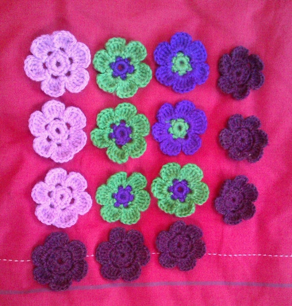 Crocheted Yarn Flowers for applique & embellishments - various colours - recycled yarn