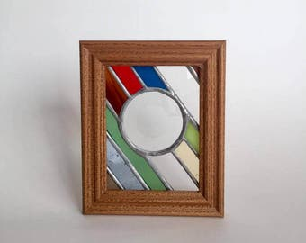 Striped stained glass Panel with round bevel by Glass Action