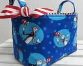 Blue Character Dots Storage Organization -  Made w/ Licensed Dr. Seuss Fabric - Fabric Container Organizer Bin Basket - Cat in the Hat