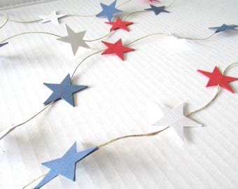 Patriotic Red, White, and Blue Star Garland, Summer, Independence Day, July 4th 8'