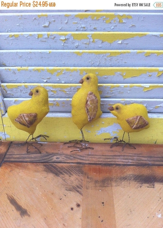 Welcome Spring Sale Primitive Easter Yellow Chicks