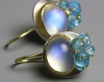 Rainbow Moonstone Earrings. 18k Gold and Silver. Swiss Blue Topaz Clusters.