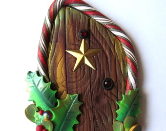 Star and Candy Cane Elf Door, Pixie Portal , Miniature Fairy Door for the Holidays, Polymer Clay Christmas Wall Decor