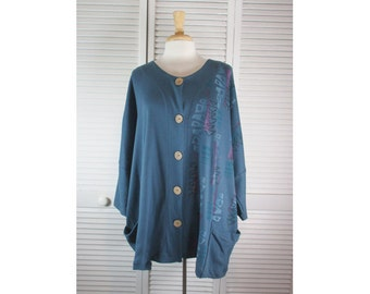 Mantle Jacket - Mariner Blue Organic Cotton Knit w/ Mobile Art OSFA Ready to Ship