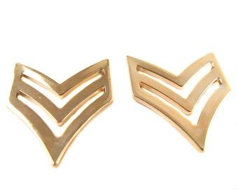 Rose Gold Plated Military Chevron Pendants (2X) (M511-D)