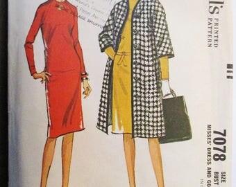 1960s Vintage Sewing Pattern McCalls 7078 Misses Dress & Coat Pattern Size 16 Bust 36