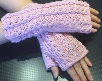 Dreamy Merino Wool and Cashmere Dusty Pink Fingerless Gloves\/Wrist Warmers\/Mitts