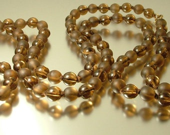 Vintage antique Art Deco/ estate, 1940s 1950s long length flapper Brown glass bead costume necklace - jewellery jewelry