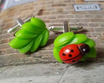 Ladybird on a Leaf Cufflinks