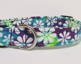 Tie Dye Floral Printed Handmade Dog Collar