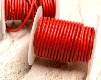 Red Rolled Leather 1.8mm diameter