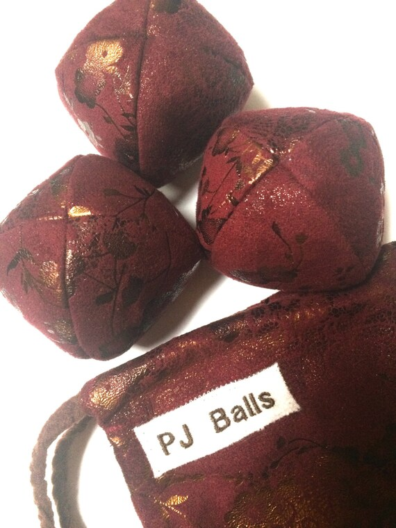 110g - 3 Elegant JUGGLING BALLS With Bag - Maroon With Copper and Dark Brown Floral Print