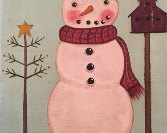 Easy to paint Primitive Folk Art Americana Snowman Portrait PATTERN.  Fail proof method