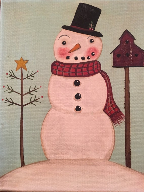 Easy To Paint Primitive Folk Art Americana Snowman Portrait