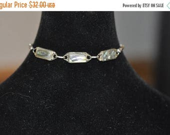 Spring Sale Sterling Silver Abalone Shell Bracelet with Three bezel set abalone shell links with a bali silver band