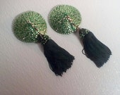 "Green Tassel Twirling Pasties with Vintage Tassels- Nipple Covers - 3.5"" Diameter"