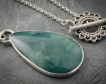 Vista Jasper Necklace. Teardrop Pendant. Silver Jasper Necklace. Green Cabochon Pendant. Silver Cabochon Jewelry. Vista Jasper Gemstone