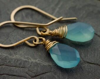 Aqua Blue Earrings. Chalcedony Gold Earrings. Faceted Pear Briolette Gemstone. 14k Gold Fill Earrings.