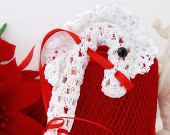Hobby Horse Lace Candy Cane Cover, Snow Pony Hanger Ornament Decoration, Gift Topper