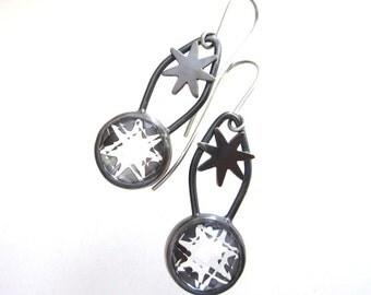 White Topaz and sterling silver star earrings, clear stone earrings, rose cut white topaz dangling earrings