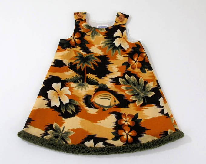 Girls' Hawaiian Brown & Green Tropical Floral Dress, Beach Dress, Luau Dress, Sundress, Hawaiian Dress, Sizes Newborn to Size 6