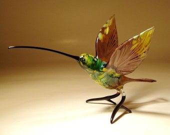 Handmade Blown Glass Figurine Art Bird Purple and Green HUMMINGBIRD with a Long Beak