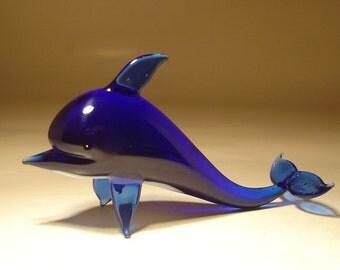 Handmade Blown Glass Figurine Art Figurine Fish BLUE DOLPHIN