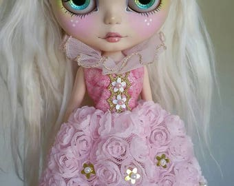 SALE Pink and Gold Flower Empress dress for Blythe and Pullip