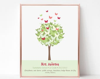 Custom Teacher Gift Print - Butterfly Tree Wall Art - Personalize with Name, School, Grade - 8x10 Gift Print