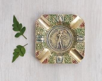 Vintage Brass Souvenir Ashtray - Crete Cnossos Knossos ornate embossed figure design - tobacciana gift idea