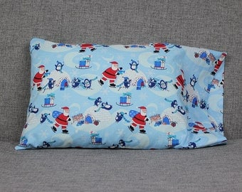 Santa and Penguins Toddler Pillowcase - fits 13 x 18 Travel Pillow