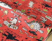 Japanese Fabric Kei Fabric Go Go Dinosaur - red - 50cm