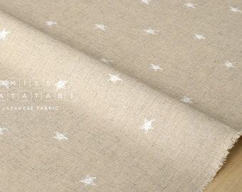 Japanese Fabric Embroidered Stars - white - 50cm