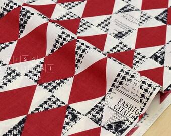 Japanese Fabric Yuwa Suzuko Koseki Diamond Pattern - red, black, cream - fat quarter